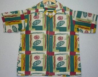 Vintage Mens 1940s Shirt / L / Atomic / 1950s Shirt / 1940s Hawaiian Shirt / 1950s Hawaiian Shirt / Rockabilly Shirt / Loop Collar / Large
