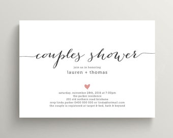Printable Couples Shower Invitation - Simple & Sweet Love Heart Design, Pink and Charcoal (BR108)