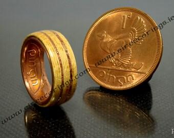 Irish wedding band ring recycled Oak wood and Irish penny coin
