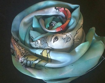 ITALY  Handpainted silk,sarong,shawls and wraps,silk women's luxury accessories, pareo,one-of-a-kind,vacation memories,michelemorganart,