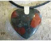 HEART SHAPE Blood Agate Necklace.