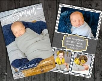 Boy birth announcement, birth announcement, baby announcement, gray and yellow birth announcement, navy and yellow birth announcement