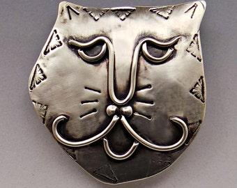 Cat Face Pin, Cat Pin, Cat Jewelry, Kitty Face Pin, Kitty Jewelry, Cat Brooch, Whimsical Cat Jewelry, Silver Cat Pin, Silver Cat,  RP0616