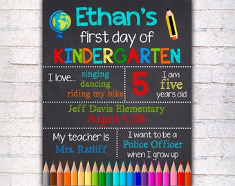 First Day of Kindergarten Sign 1st grade chalkboard  - Printable - Photo Prop - Personalized Sign for boy blue red 16x20 11x14 8x10 - 020