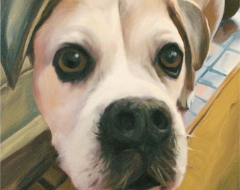 Dog Photo To Painting on Canvas - 11x14 Custom Pet Portrait - Hand Painted & Stretched