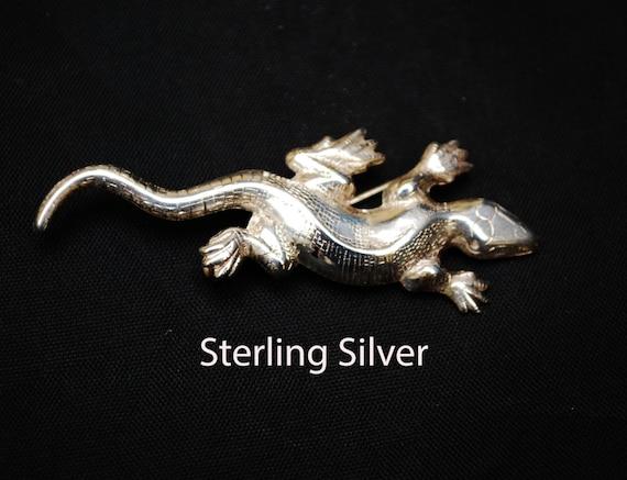 Sterling Silver Lizard Brooch Designer signed Lang Gecko Pin