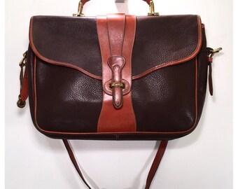 Vintage 1980s Dooney & Bourke Bag Black and Brown Leather Dooney and Bourke Briefcase Large Dooney Bourke Crossbody Satchel Messenger Bag