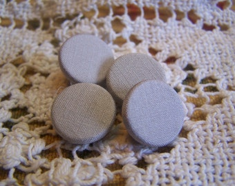 "Antique 5/8"" Light Gray Silk Fabric Covered Buttons, Set of 4 (no. 261)"