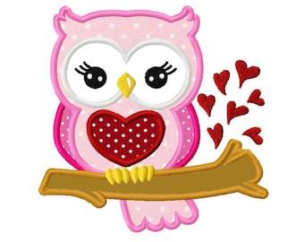Valentines Day Love Heart Owl Custom Monogram Applique Shirt Girls Boys Baby First Valentines Day Shirt