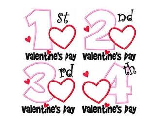 Valentines Day Love Heart Pick First 1st Second 2nd Third 3rd Custom Monogram Applique Shirt Girls Boys Baby Shirt Onesie