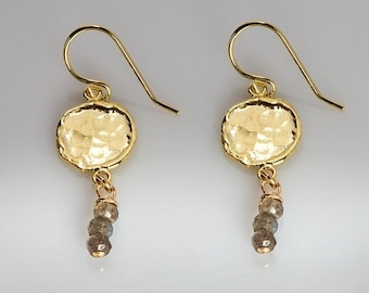 ON SALE Coins- gold Earrings Hammered Coins Earring with Labradorite Gemstone dangle earrings