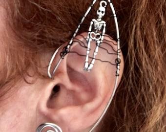 Elf Ear Cuff, Ear Cuff, Goth Ear Cuff, Skeleton Earcuff, Spooky, Festival Jewelry, Skeleton Jewelry