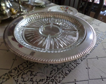 """Lovely Large Vintage Silverplate and Cut Glass Divided Relish/Lazy Susan/Tray-15"""" Round"""