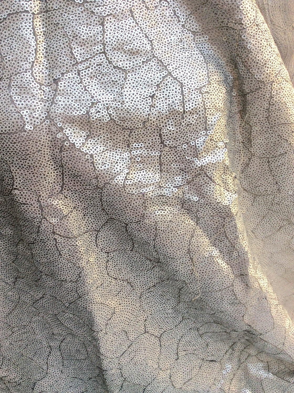 Silver Sequins Fabric Silver Lace Silver Sequins Sequin