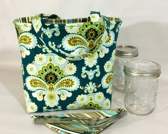 Mason Jar Carrier Bag - Pint 2-jar Jars to Go - Teal Paisley lunch tote cozy