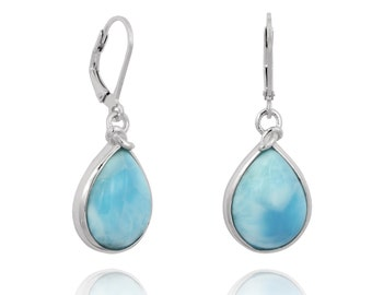 Larimar Earrings. Sterling Silver Larimar Drop Shape Earrings.