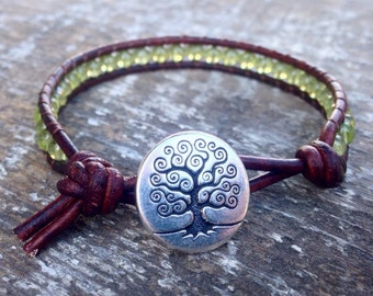 peridot beaded leather wrap bracelet lime green and silver one wrap with silver tree August birtstone birthday gift