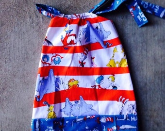 Dr Suess, Pillowcase ruffle dress size NB 3 6 9 12 24 months size 2 3 4 5 6