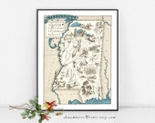MISSISSIPPI MAP PRINT - framable vintage picture map print - size & color choices - personalize it - map art gift perfect for many occasions