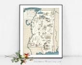Mississipi MAP PRINT - impression de carte framable photo vintage - taille et couleur des choix - personnaliser - carte parfait cadeau art pour de nombreuses occasions