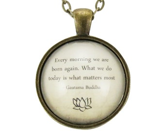 Buddha Quote Necklace, Inspirational Wisdom Pendant, Motivational Yoga Jewelry (1573B1IN)