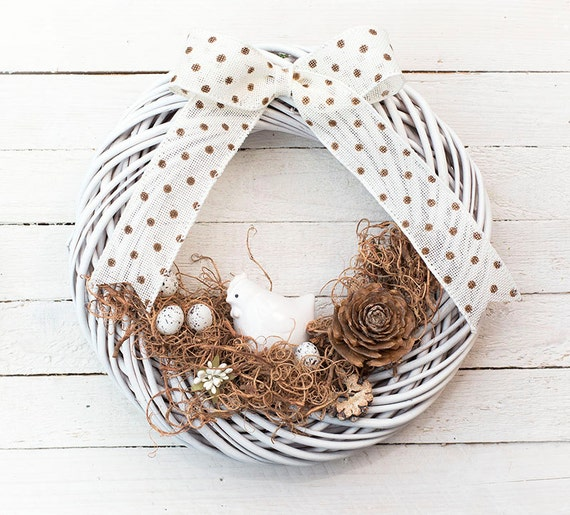 Easter wreath spring decorations door wreaths natural white home decor