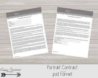 Photography Contract, Model Release, Portrait Session Contract Template- Instant Download