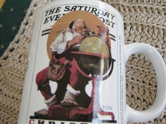 Norman Rockwell Santa with Globe Chirstmas Mug MINT
