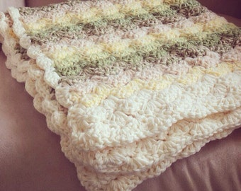 Double thick Greens, yellows and creams Shell Crochet Baby Blanket,  full crib size.