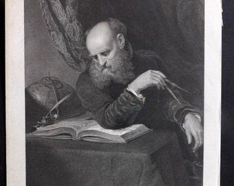 After Wyatt C1860 Art Journal Print. The Astronomer
