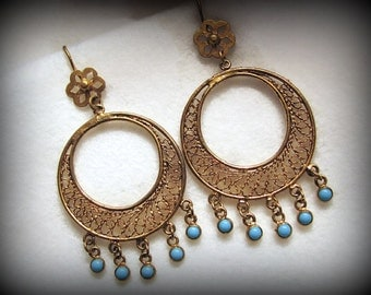 "BOLD Filigree CIRCLE Earrings -- Thai Silver with Gold Wash and Blue Glass Cabochons -- -3-1/8"" Long"
