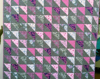 Lap, throw, couch, toddler bed patchwork triangle quilt blanket grey  pink purple