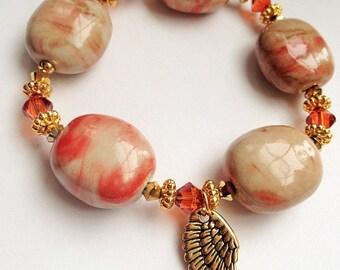 Petit Size Angel Wing Bracelet, Red Marble Porcelian Bracelet, Swarovski Bracelet, Sale, Petite Bracelet,OOAK