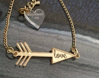 "1.5"" Custom LOVE BAR Necklace Laser Cut and Engraved Bar Necklace Mirror Acrylic Gold Plated Chain"
