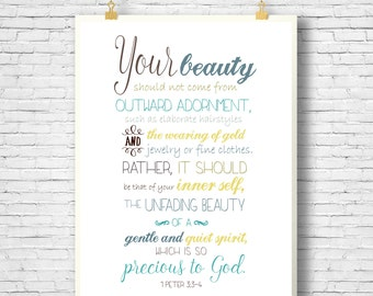 PRINTABLE, Bible Verse, Scripture Printable, Home Decor printable,  Scripture Art bible verse, 1 Peter 3:3-4, 8x10 File, INSTANT DOWNLOAD