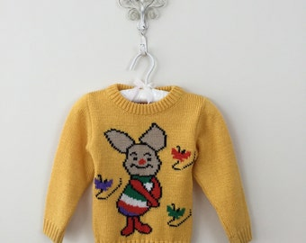 80s Yellow Piglet Winnie The Pooh Acrylic Sweater, Size 3T to 4T