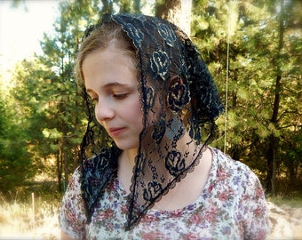 Black and gold lace triangular veil,PO#ZB07
