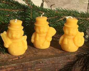 Snowman Beeswax Candles set of 3