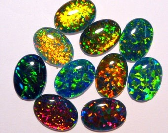 Synthetic Loose Triplet Opal Stones.14 x 10 mm Oval. 10 Pieces. Item 100242.