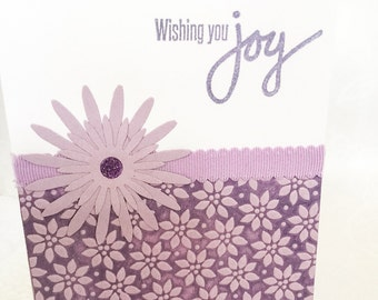 Handmade cards: Wishing you joy - Elegant birthday card - lilac flowers - purple embossed - lavender flowers cards - hand stamped - Wcards