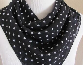 "Berkshire Black White Dot Soft Poly Fashion Scarf 22"" Square - Affordable Scarves!!!"