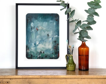 Abstract blue artwork, original painting, Moody art, abstract landscape, paint dribbles, deep blue sky, living room art, teal painting