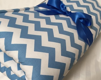 "Baby Play Mat Padded Floor Blanket Chevron Tummy Time Sky Blue Newborn Gift Baby Shower Nap Mat Personalize Custom 35"" x 35"" or 40"" x 35"""