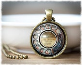 Retro Phone Necklace • Phone Dial Image Pendant • Vintage Phone Jewelry • Telephone Jewelry