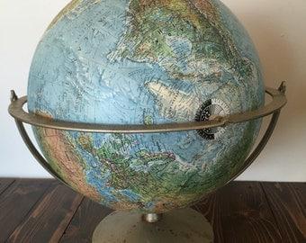 Vintage Globe, Replogle, Land and Sea Globe, Vintage World Globe, 12 Inch Globe, mid century globe, vintage map