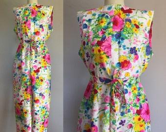 1960s 70s Floral Cotton Brocade Romper - Sleeveless Pantsuit Jumpsuit - M/L