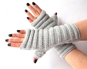 SALE - 25% Off! Knit Fingerless Gloves. Light Gray Knit Gloves. Warmer Gloves. Knitted Wrist Warmers. Knit Arm Warmers. Women Gloves.
