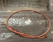 Bangle Bracelet- Upcycled Piano Wire - Copper Bracelet- Music Jewelry- Pianist Gift