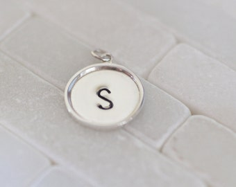 Initial Charm - Large Initial Charm - Monogram Charm- Personalized Charm - Sterling Silver Initial Charm - Mommy Jewelry - Gift For Her