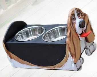 Basset Hound Two Bowl Dog Feeder, Dog Lover Gift, Dog Food Dish, Animal lover gift, elevated dog dish